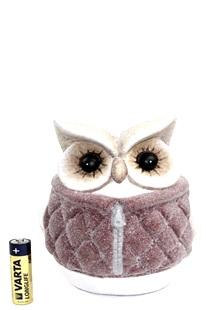 Owl with mauve jacket