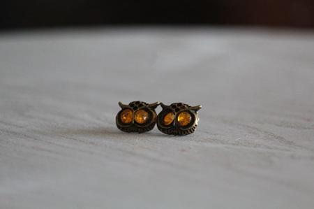 Owl with Yellow Eyes Earrings