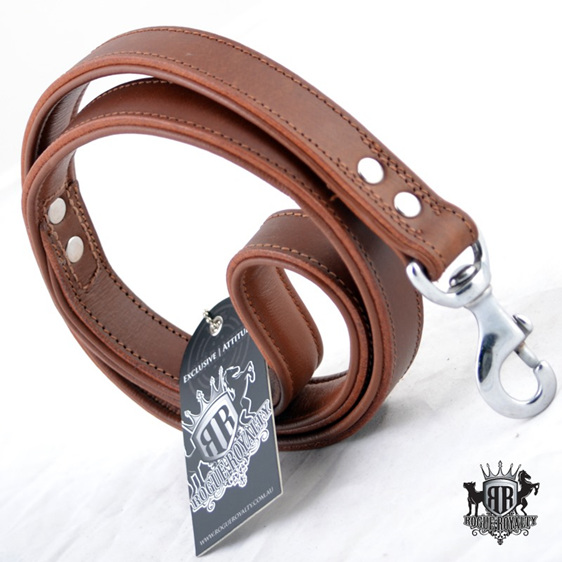 Oxford Brown Padded Strong Leather Leash by Rogue Royalty