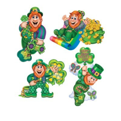 Pack of 4 x Leprechaun Cutouts - Great for St Patricks Day