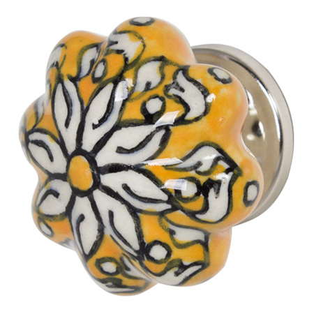 PACK OF TWO HAND PAINTED CERAMIC CABINET KNOB