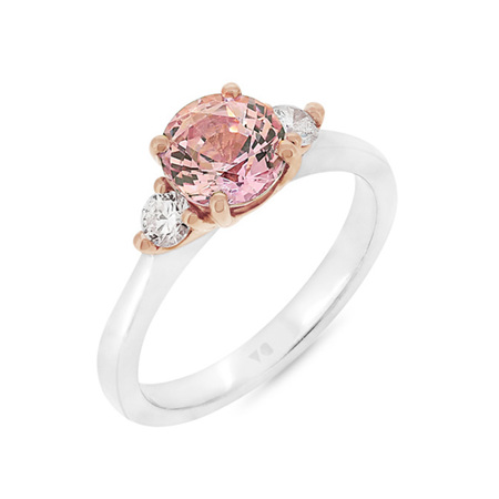 Padparadscha Sapphire and Diamond Ring