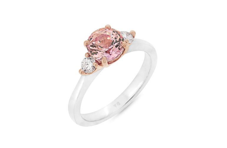 Padparadscha sapphire and diamond ring