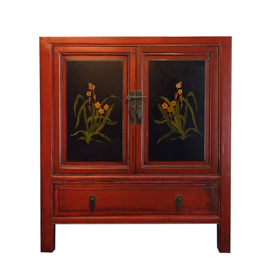 Painted cabinet w 2 doors 1 drawer small cabinet