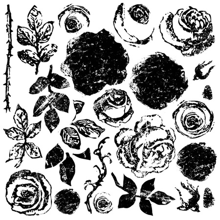Painterly Roses IOD Decor Stamp