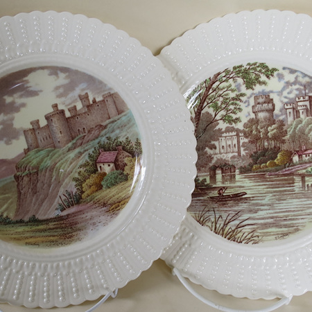 Pair of hand painted castles