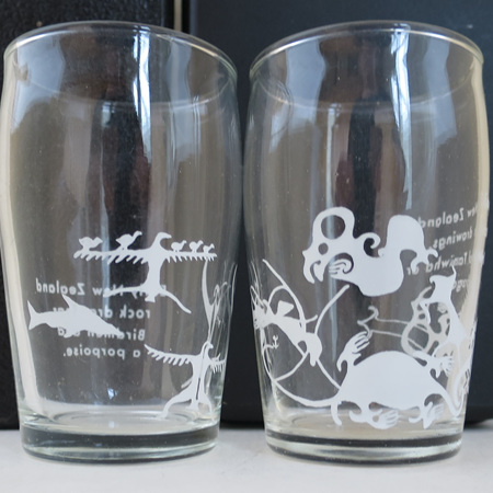 Pair of tumblers rock art
