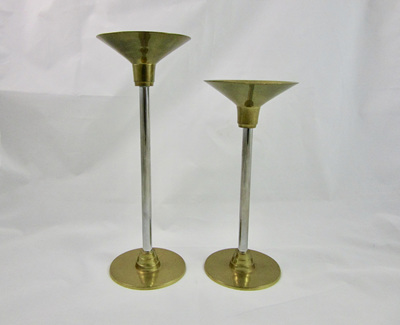 Pair of Vintage Brass and Stainless Steel Candlesticks