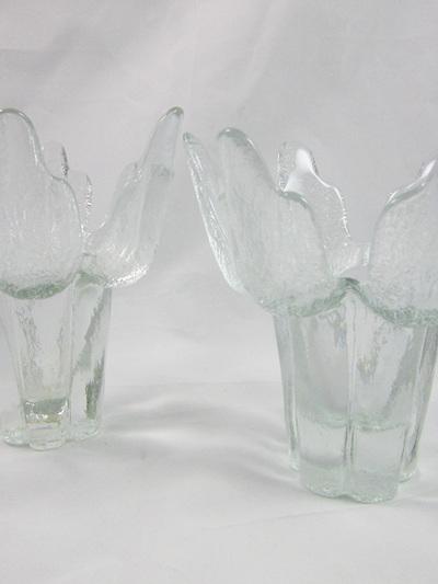 Pair of Vintage Mantsalan Lasisepat Glass Candle Holders