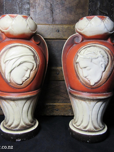 Pair of Vintage Religious Urns With Images of Jesus and Mary