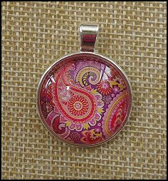 Paisley Glass Dome Key Ring