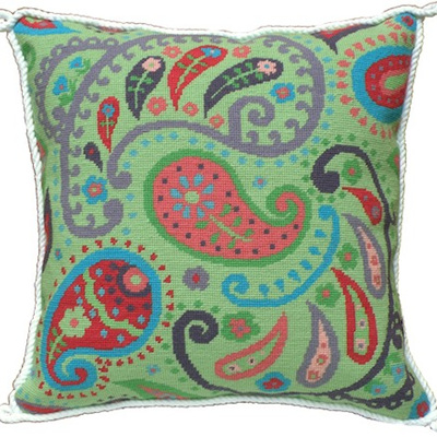 Green Paisley Needlepoint Kit  CLEARANCE
