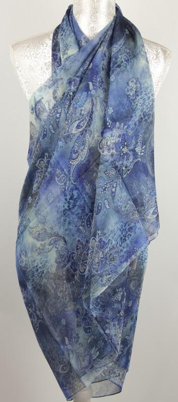 Paisley Pattern Sarong: Blue (Adult)