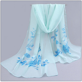 PALE BLUE CHIFFON SCARF WITH ROSES
