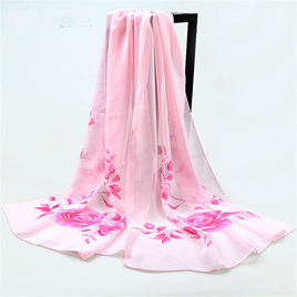 PALE PINK CHIFFON SCARF WITH ROSES