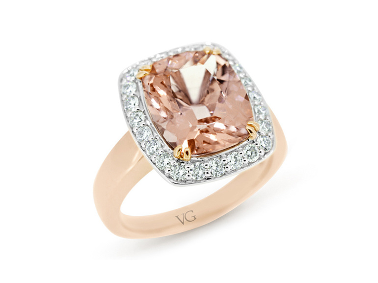 pale pink morganite and diamond ring in 18 carat rose and white gold