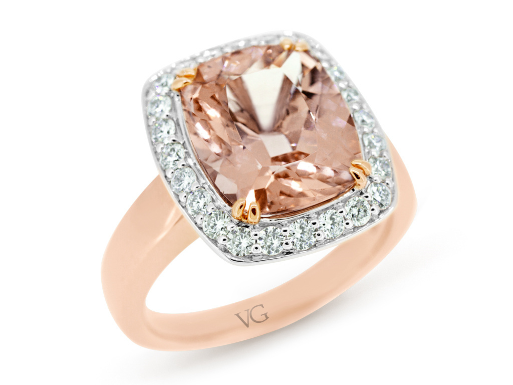 ring engagement halo diamonds morganite rose gold natural valuation diamond oval