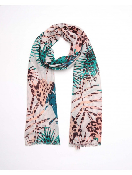 Palm Tree Scarf - Cream/Peach/Green