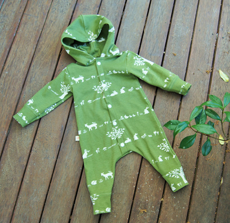 'Palmer' Playsuit , cardigan front, full legs & hood  in 'Forest Friends' GOTS Organic Cotton, 6-12m