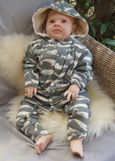 'Palmer' Playsuit with hood, 'Kujira, Gray' GOTS Organic Cotton, 1 year
