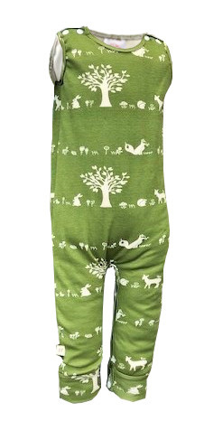 'Palmer' Playsuit with leg snaps, 'Forest Friends' GOTS Organic Cotton Knit, 18m