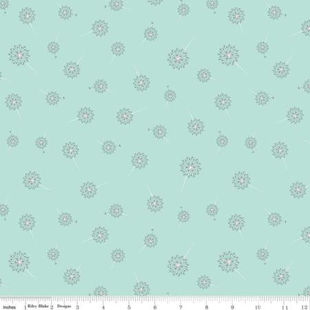 Paper Daisies Dandelion Blue C8885-Mint
