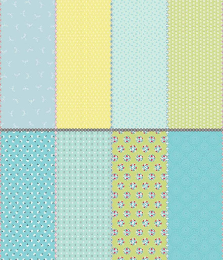Paper Daisies Fat Eighth Panel Blue FEP8887B