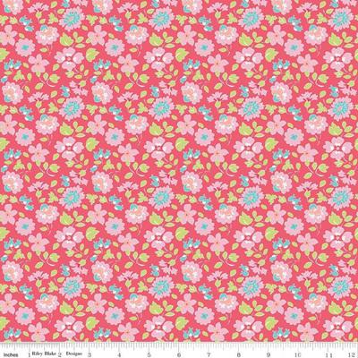 Paper Daisies Floral Dark Pink C8883-DkPink