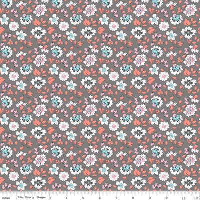 Paper Daisies Floral Gray C8883-Gray