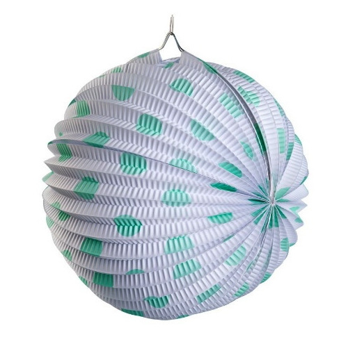 Paper Lantern String Lights Nz : Paper Lantern White & Mint Spot - Party Lights Company