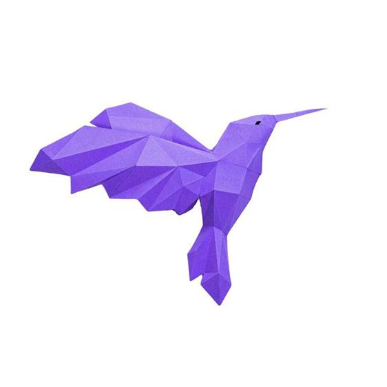 Paper origami blue hummingbird wall art