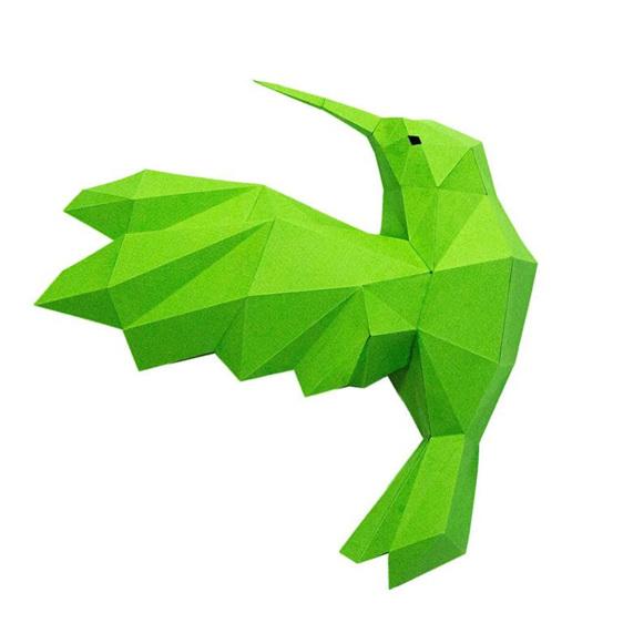 Paper origami greem hummingbird wall art