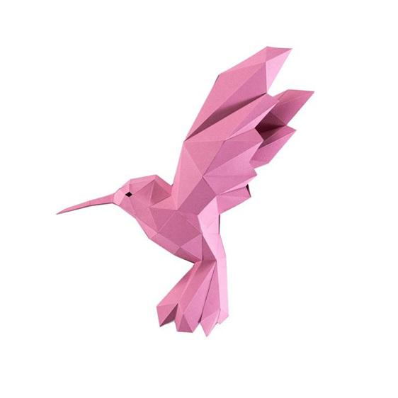 Paper origami hummingbird pink wall art