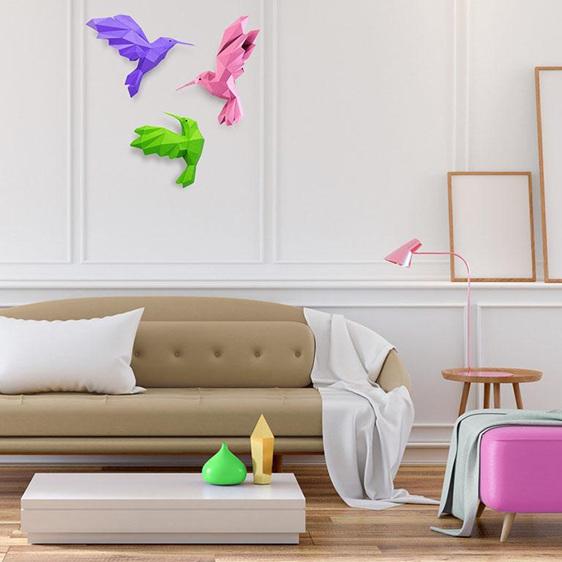 Paper origami hummingbirds wall art