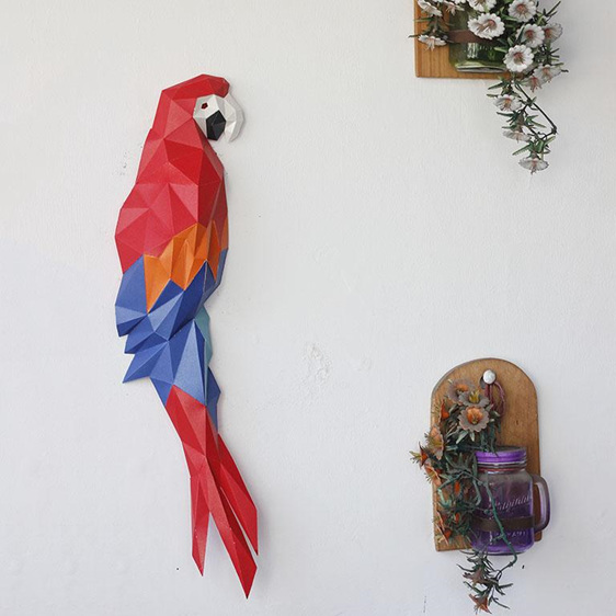 Paper origami macaw wall art