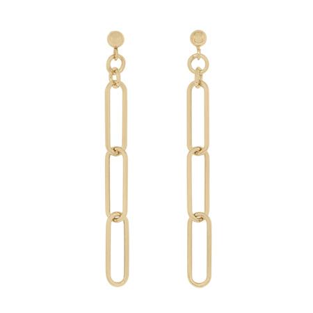 Paperclip Dangle Stud Gold Earrings