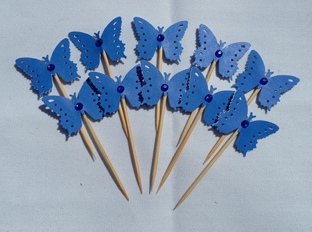 Parade blue party pick butterflies