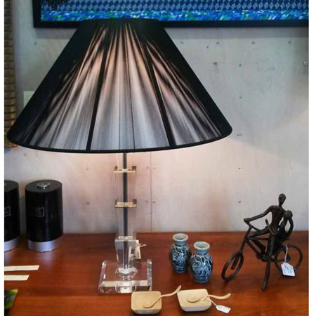 Paris Crystal Table Lamp with Black String Shade - $498