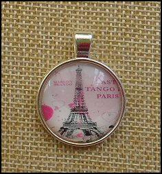 Paris Glass Dome Key Ring