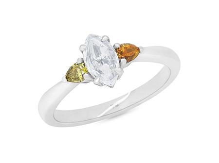 Parti: Rose Cut and Coloured Diamond Three Stone Ring