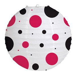 Party lantern - red & black spot