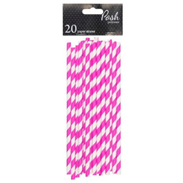 Party Paper Straws  - Pink and White Stripe x 20