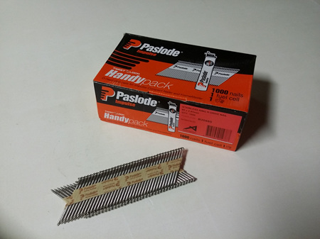 Paslode Impulse 65x2.87mm Stainless Steel Ring R-Drive D-Head Nails 1000 nails/carton
