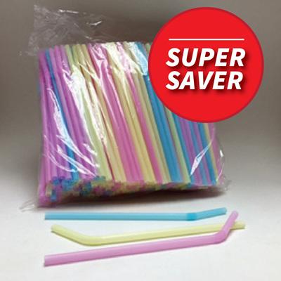 Pastel Coloured Flexi Straws