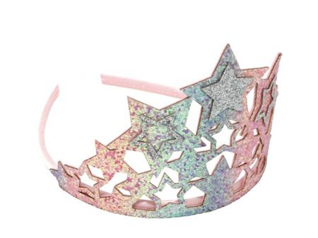 Pastel Rainbow Chunky Glitter Star Crown