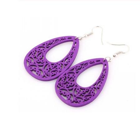 """""""Patience"""" Purple Wooden Earrings"""