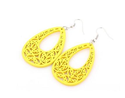 """""""Patience"""" Yellow Wooden Earrings"""