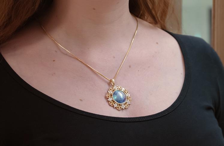 Paua pearl, diamond, argyle pink diamond and yellow gold maori design pendant