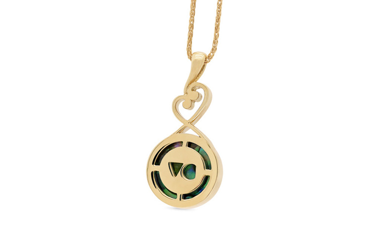 Paua Pearl Koru Style 18ct Yellow Gold Pendant