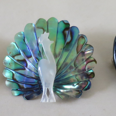 Paua shell brooches